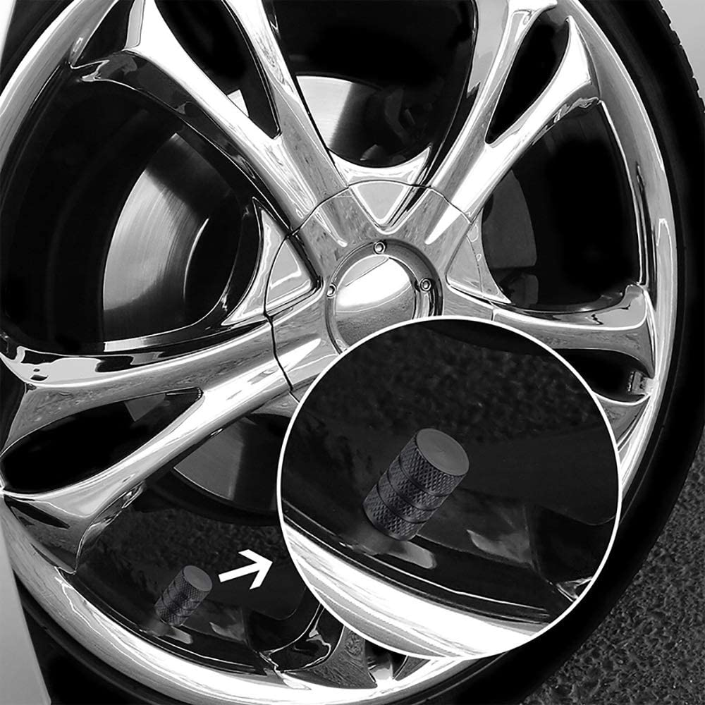 moto v/élo et v/élo camions noir Fournitures de voiture Paquet de 12 bouchons de valve de pneu Tiges de valve Couvercle anti-poussi/ère de capuchon de roue pour voiture