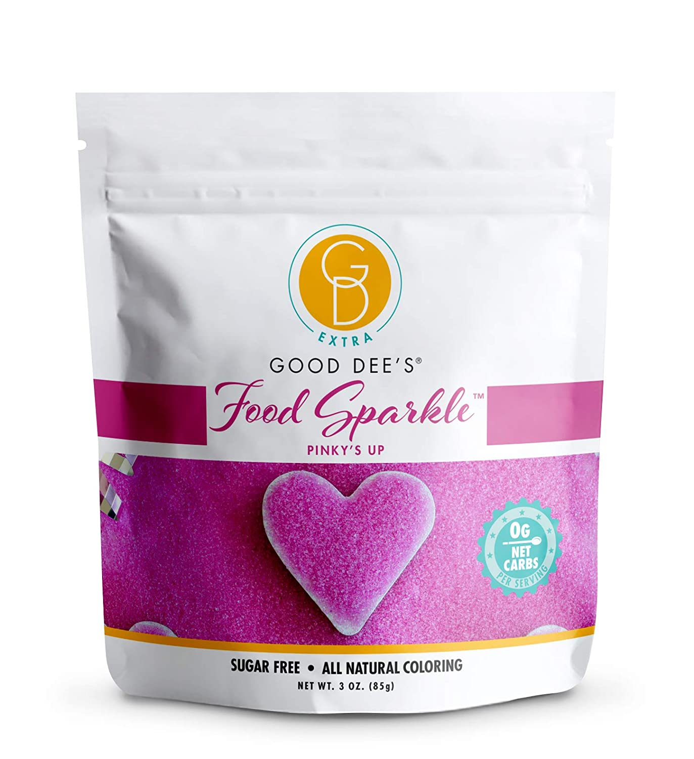 Good Dee's Food Sparkle Pinky's Up - All Natural Coloring & Sugar Free Food Glitter (0 Net Carbs) | Gluten Free Edible Dust For Desserts, Ice Cream And Cakes | Keto Friendly
