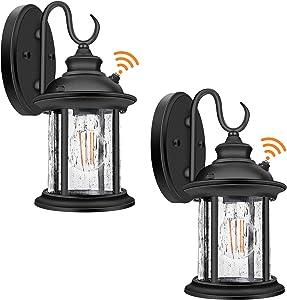 2-Pack Dusk to Dawn Sensor Outdoor Wall Lantern, Exterior Wall Sconce Porch Light Fixture with E26 Socket, 100% Anti-Rust Aluminum Waterproof, Clear Glass Matte Black Wall Lamp for Doorway Garage