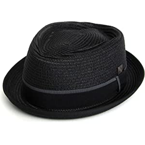 84cbbca960f Dasmarca Mens Summer Straw Retro Porkpie Hat - Max Black S at Amazon ...