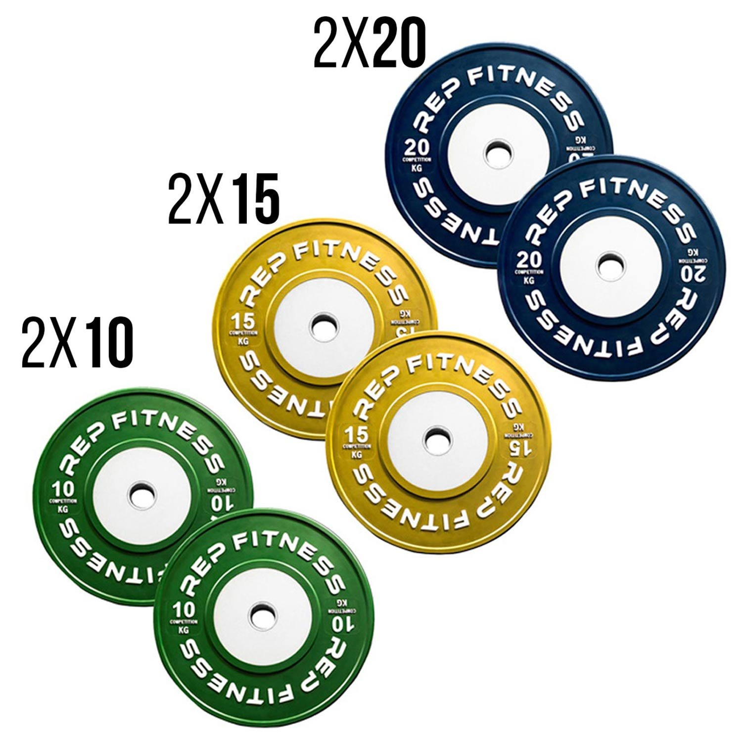 Rep kg Competition Bumper Plates for Olympic Weightlifting, 90kg Set