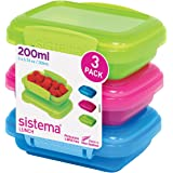 Sistema Lunch Collection Food Storage Containers, Assorted Colors, 6.7 Ounce, Set of 3