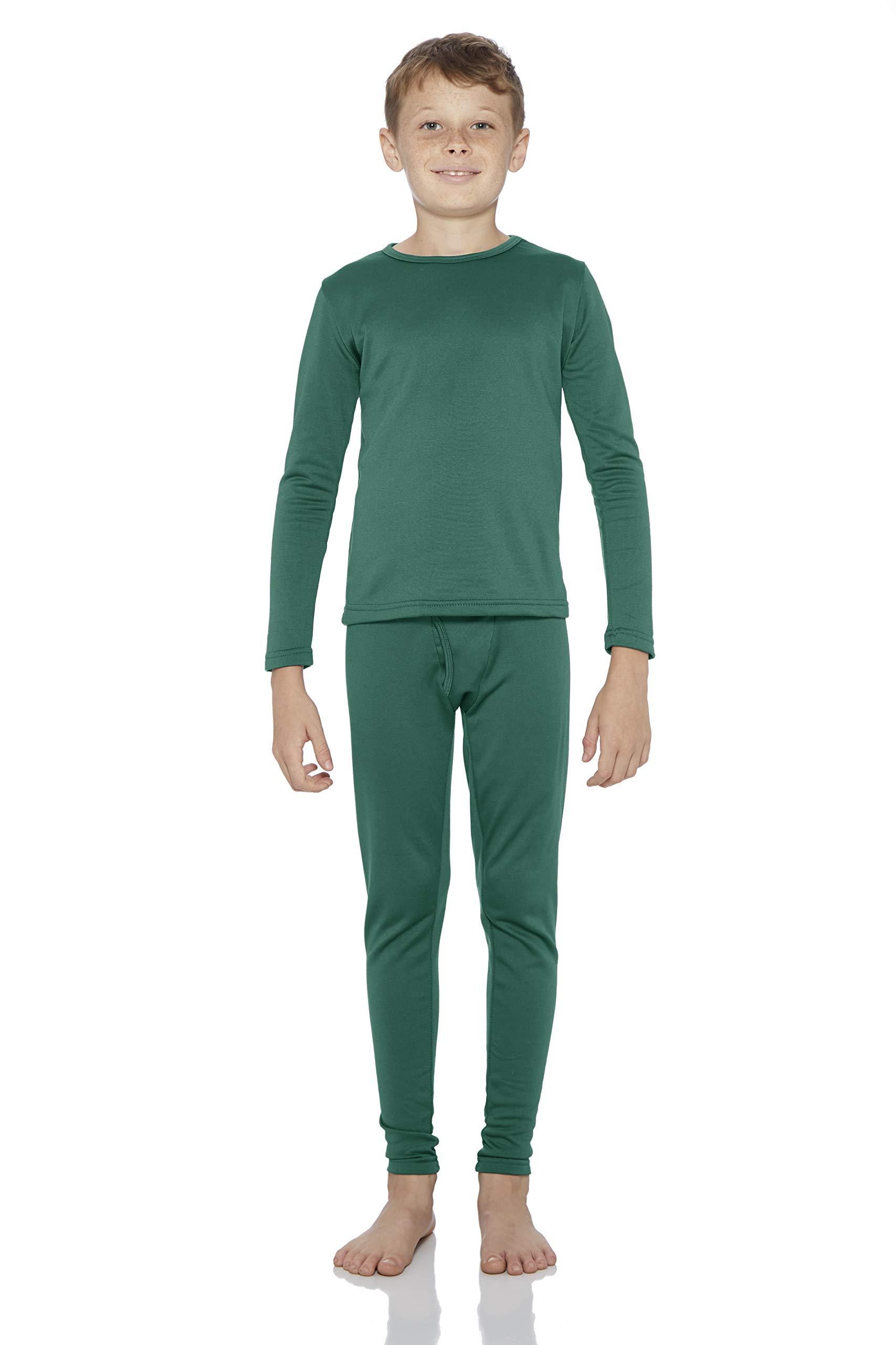 Rocky Boy's Fleece Lined Thermal Underwear 2PC Set Long John Top and Bottom (XS, Jade)