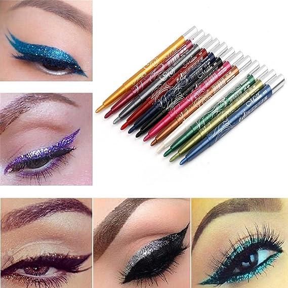 Amazon.com: Lápiz de maquillaje Eyeliner, Cicuta 12 colores ...