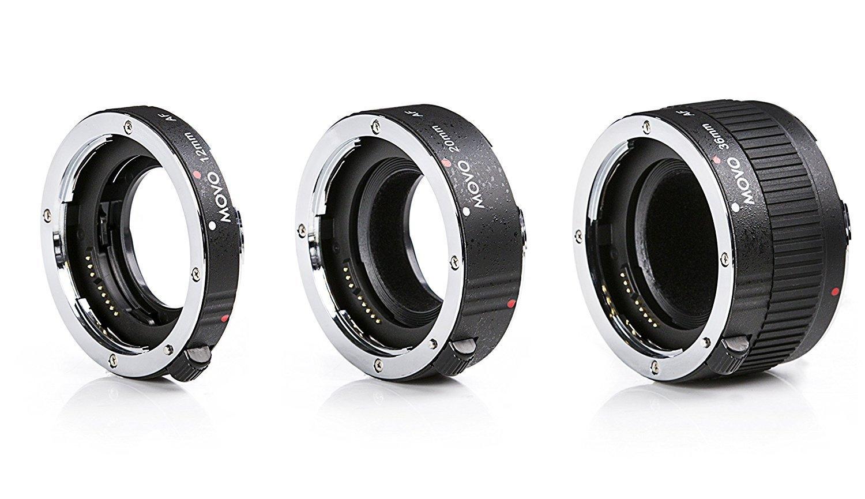 Movo MT-N68 3-Piece AF Chrome Macro Extension Tube Set for Nikon Mount DSLR Camera/Nikkor Lens System with 12mm, 20mm, 36mm Tubes by Movo
