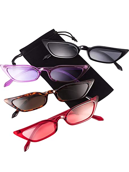 Zhanmai Retro Small Cat Eye Sunglasses Vintage Square Shade Women Cute Skinny Cat Eye Eyewear by Zhanmai