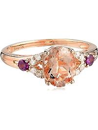 10k Pink Gold Morganite, Rhodolite and Diamond Ring, Size 7