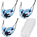 3 Pack Camo Print Cloth Covering Reusable Camouflage Face Mask With 10 Replace Fliters For Adult