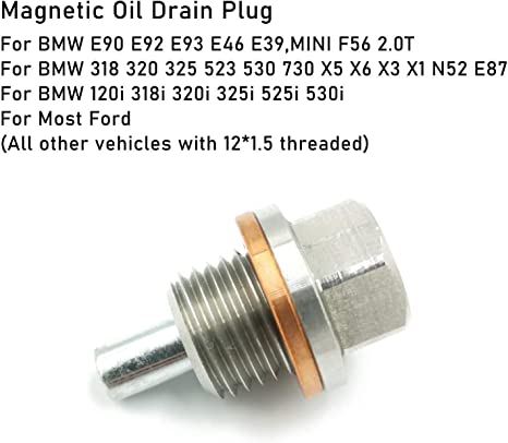and GM Ford Acura M14x1.5 Mitsubishi All other vehicles with 14x1.5 threaded Jaronx Magnetic Oil Drain Plug,Aluminum Magnetic Sump Drain Nut Oil Drain Bolt Compatible with Most Honda