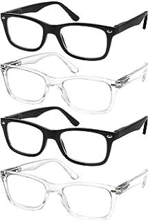 c2e8642e1960f Reading Glasses Set of 4 Black Quality Readers Spring Hinge Glasses for  Reading for Men and