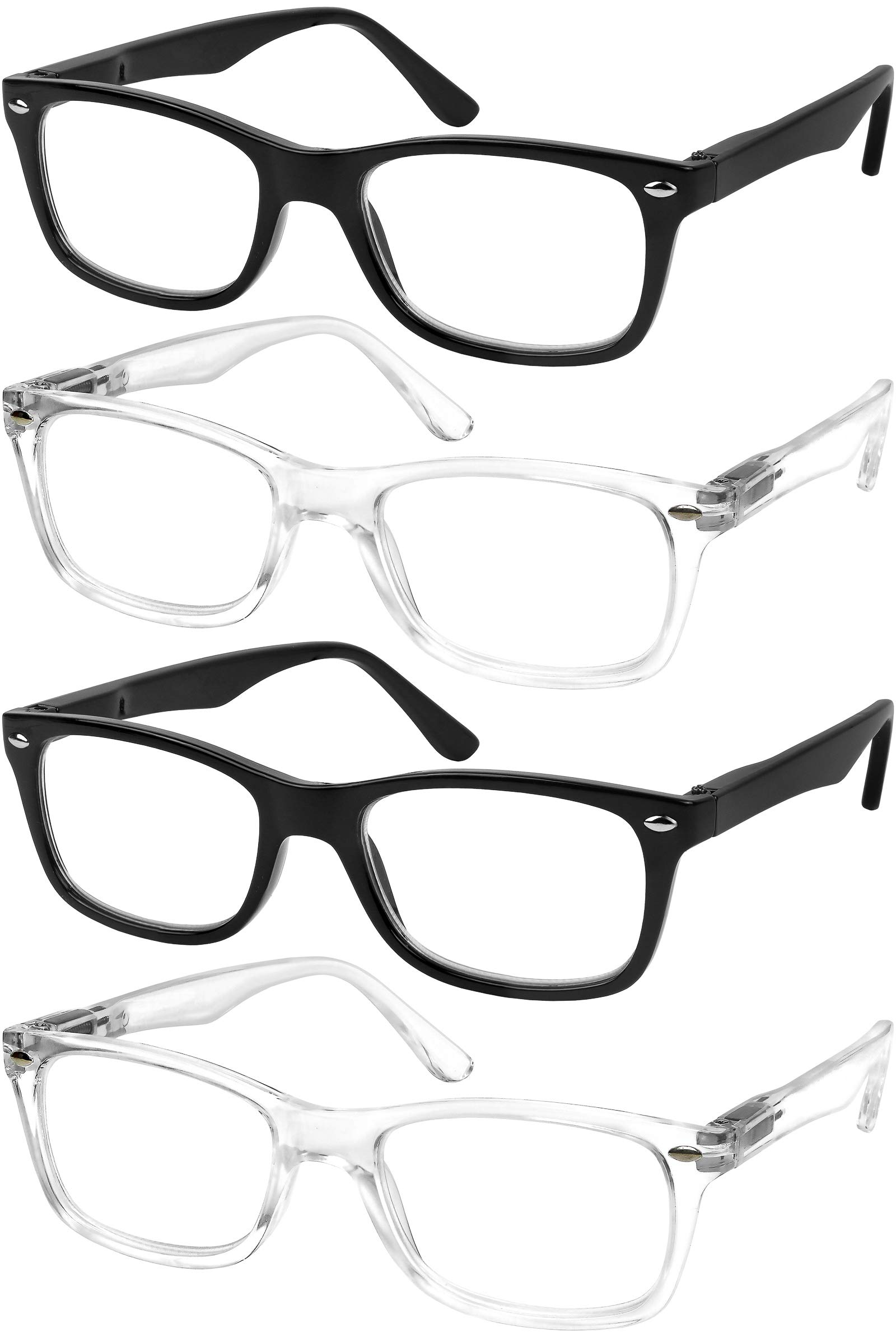 Reading Glasses Set of 4 Quality Readers Spring Hinge Glasses for Reading for Men and Women Set of 2 Black and 2 Clear +1.75