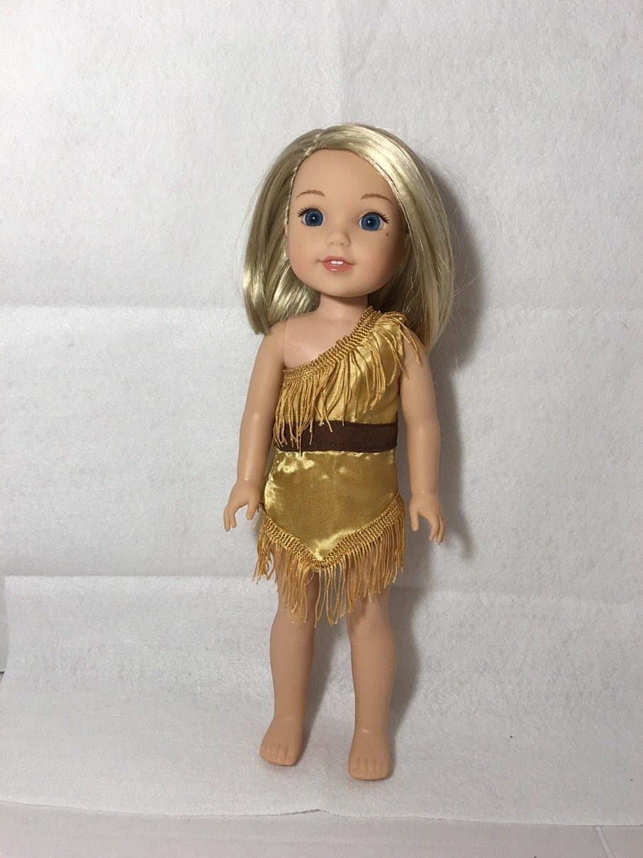 Fits 14.5 inch Wellie Wishers Doll Clothes Native American Indian Dress Jungle Woman Pocahontas Costume NO DOLL