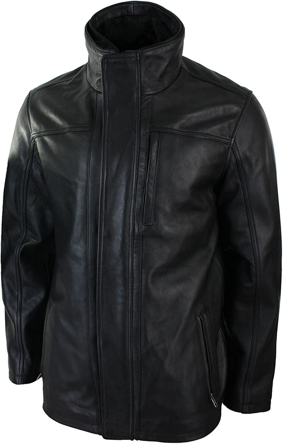 Infinity Mens 3//4 Real Leather Safari Jacket Overcoat Removable Double Zip Black Brown Brown s