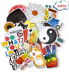 YAWALL Cool Stickers for Laptop Water Bottles Decorative Laptop Skin Dacals 46P