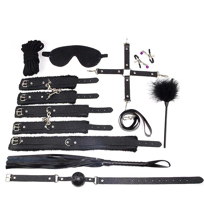 10 PARTS/LOT New leather bdsm bondage Handcuff Set Erotic Sex toys for  couples female