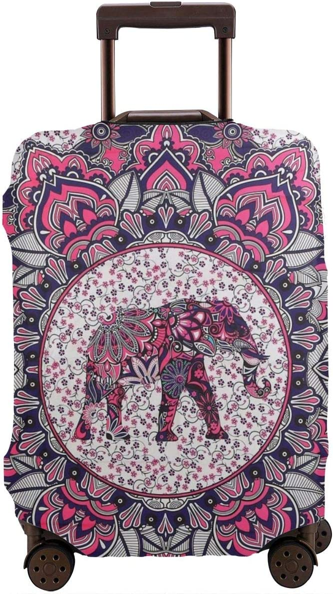 Travel Luggage Cover Suitcase Protector Spandex Washable Zipper Baggage Covers Indian Om Floral Mandala Elephant Motif Fit 18 To 32 Inch