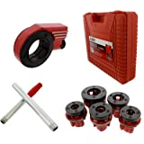 """ABN Ratcheting Pipe Threader Cutter 9-Piece Kit – with 1/4"""" – 1"""" Inch Pipe Thread Dies for Repairing Vehicle Threading"""