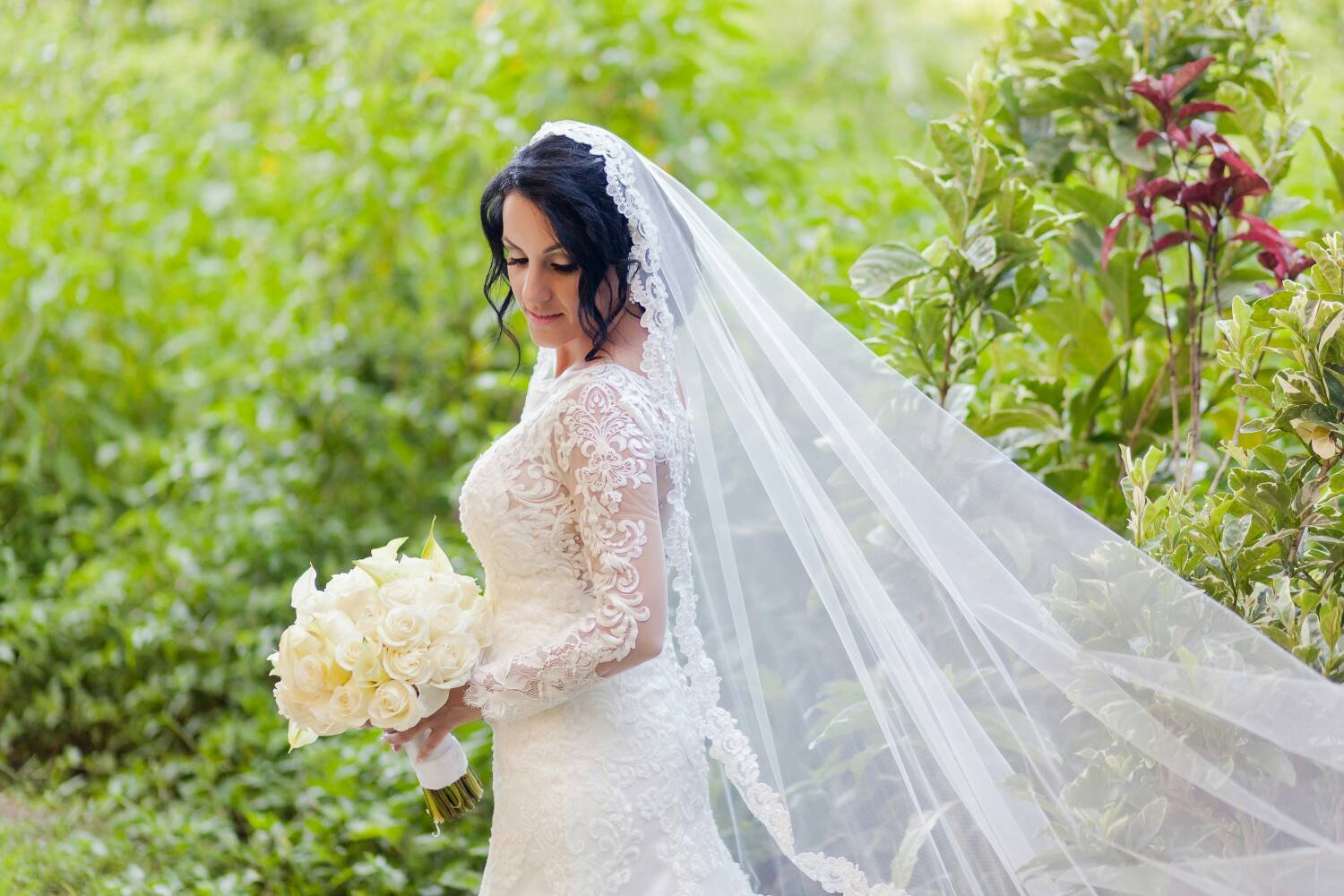 Mantilla Lace Wedding Veil | Beaded Lace