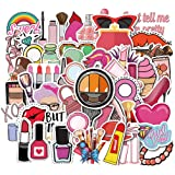 50 Pcs Cute Pink Girls Stickers for Laptop and Water Bottles, Waterproof Durable Trendy Vinyl Laptop Decal Stickers Pack for Teens, Water Bottles, Computer, Travel Case, Luggage (Pink Girl)