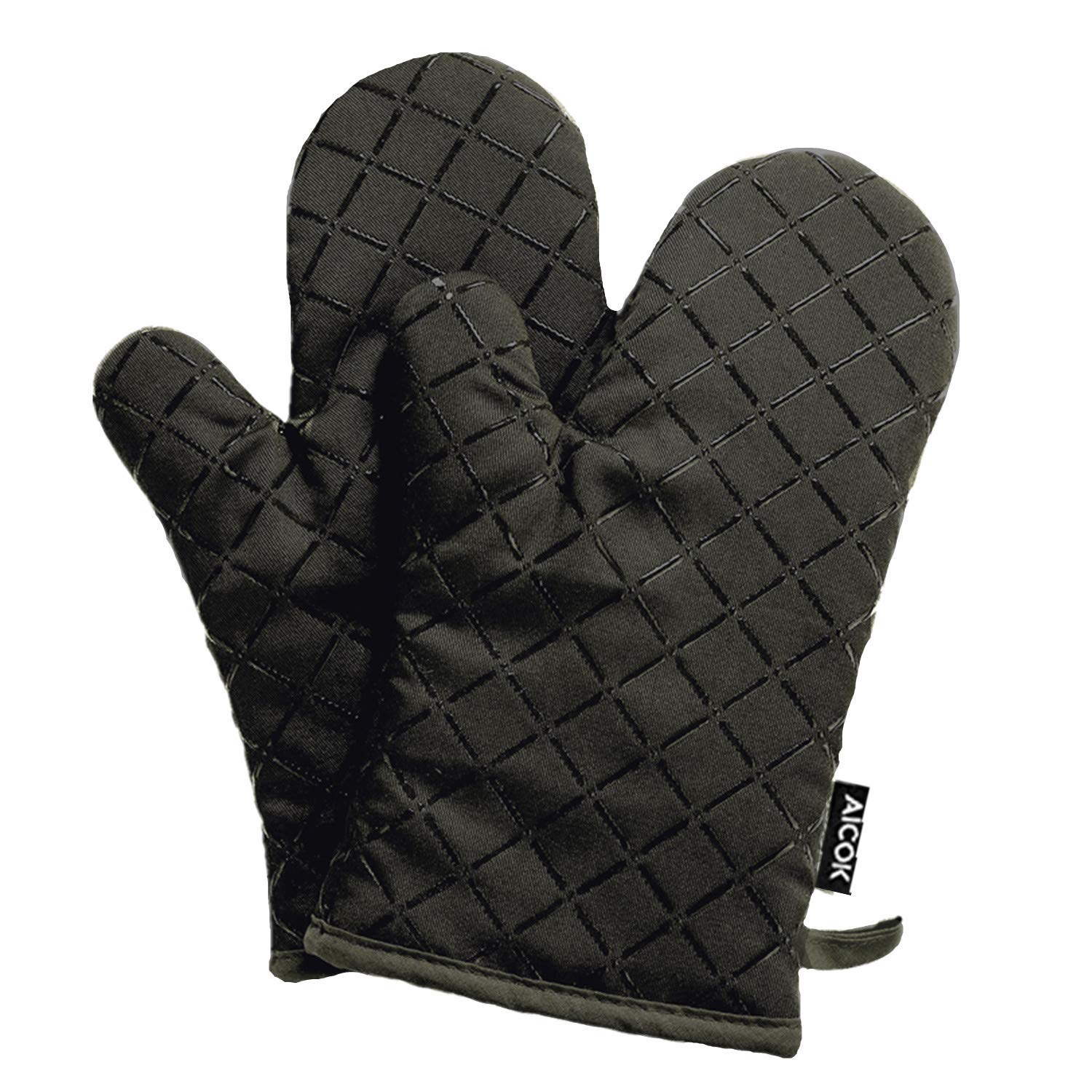 AICOK Oven Mitts, Heat Resistant Oven Gloves, Non-Slip Cooking Gloves, for BBQ, Baking, Barbecue Potholder, Black