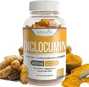 Turmeric Curcumin Supplement with Black Pepper - 2250mg Tumeric Curcumin with Bioperine Plus Ginger Capsules 180 Capsules