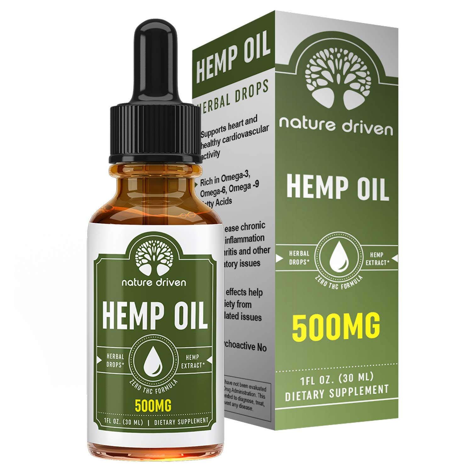 Premium Hemp Oil Drops (500MG) :: Packed with Vitamins and Omega 3 Fatty Acids:: Peppermint Flavored:: Natural Ingredients :: One Month Supply :: Nature Driven
