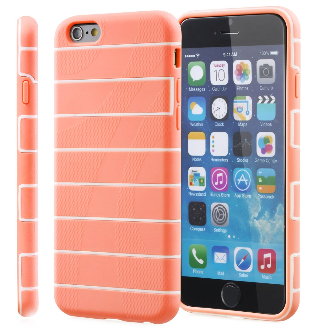 Amazon.com: iPhone 6s Case, Fosmon DURA-RAIL Slim Fit Durable Cover Case for Apple iPhone 6 (2014) / iPhone 6s (2015) - Light Pink/White: Cell Phones & ...