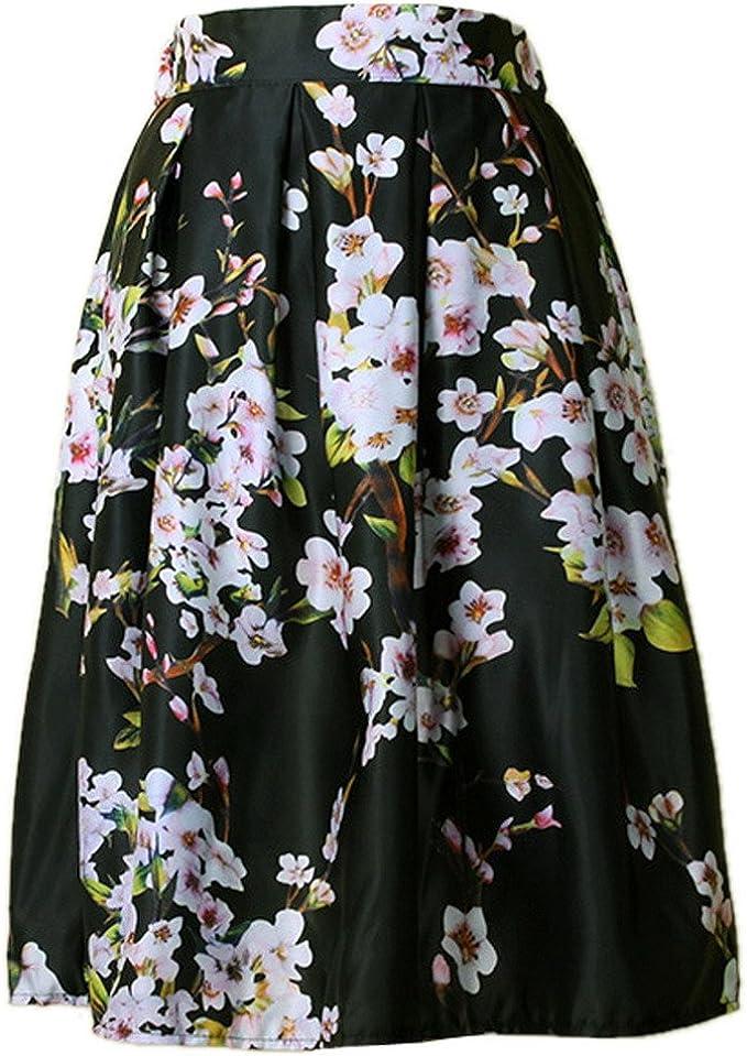 Aivtalk Falda de Alta Cintura con Sakura Flor Impresa Moderna para ...