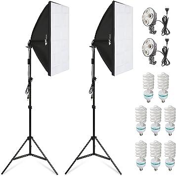 amzdeal Caja de luz Kit Estudio, 2 x 50 x 70cm softbox + 8 x + 2 x ...