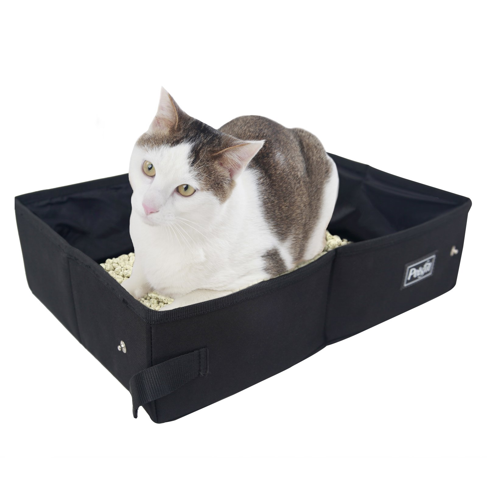 """Petsfit Fabric Portable/Foldable Cat Litter Box/Pan for Travel Used Light Weight 15.7"""" x 12"""" x 4.7"""", Black"""