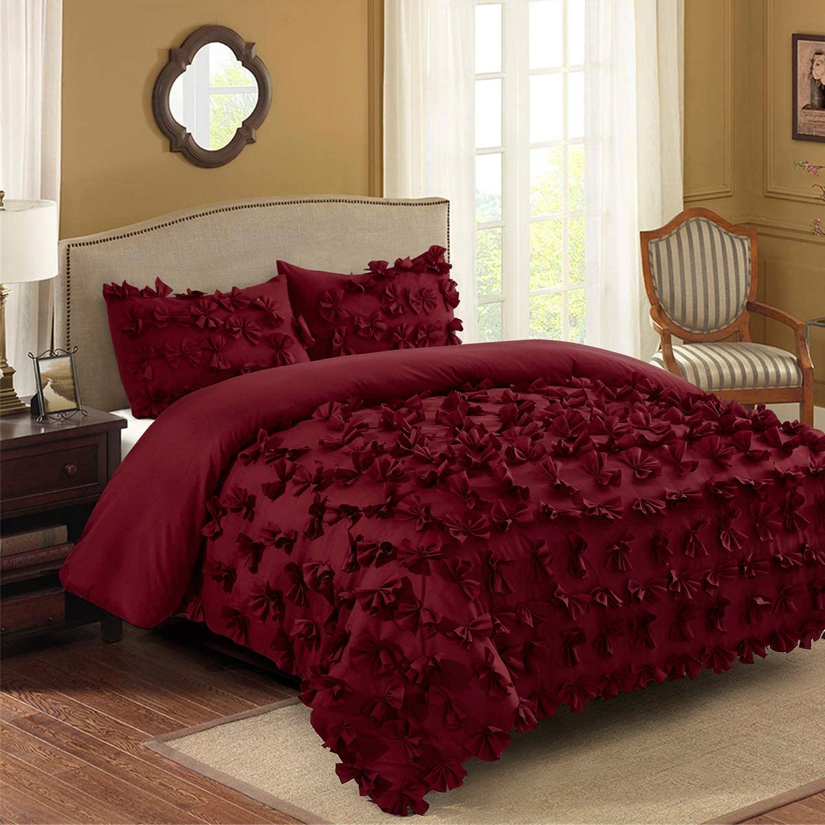 hig 3 piece comforter set king burgundy microfiber one hundred burrterfly flower applique enfield bedding collection king size soft