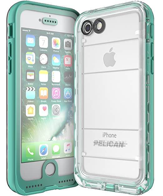 brand new 8ad50 c26ba Amazon.com: Pelican Marine Waterproof iPhone 7 Case (Teal/Clear ...