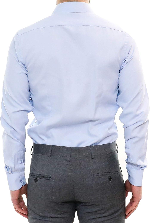 Camicia Uomo Slim Fit Bianca Blu Azzurro Elegante Sartoriale Cotone Manica Lunga Classica da Cerimonia Aderente Casual Camicie Classiche per Abito S M L XL XXL XXXL