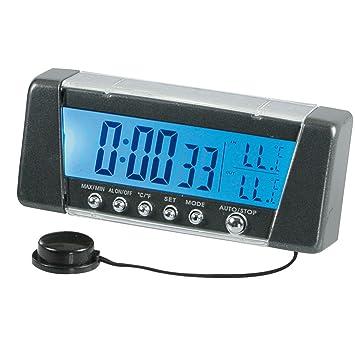 Pilot LA_86322 - Termómetro y Reloj Digital para Coche (Pantalla con 7 Colores), Color Negro