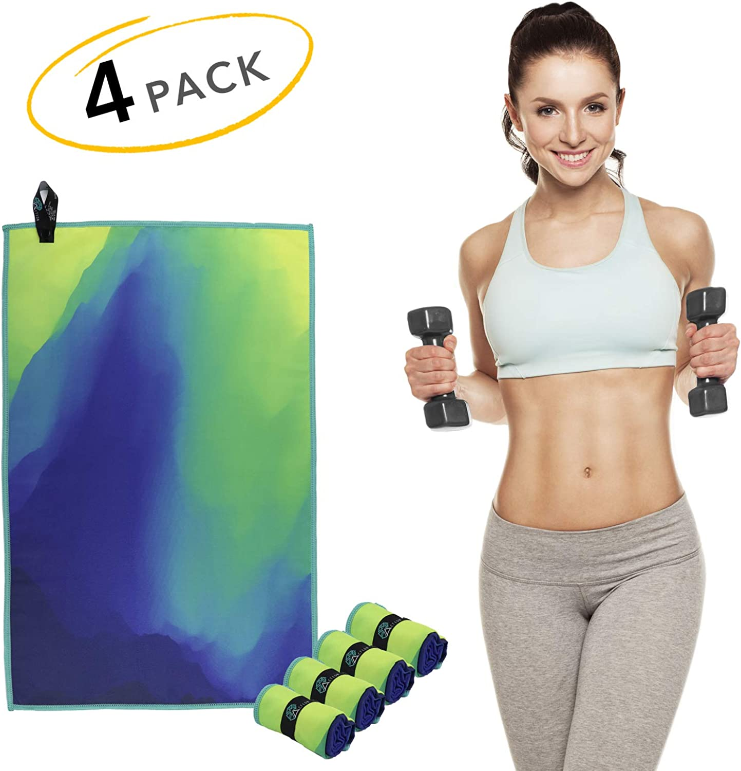"Acteon Microfiber Gym Towels - Quick Dry Workout Towel - Sweat Towel - Antibacterial - Odor Fighting & Ultra Compact. Great for Travel, Camping, Sports, Backpacking - Men & Women - 15"" x 23"" 4-Pack"