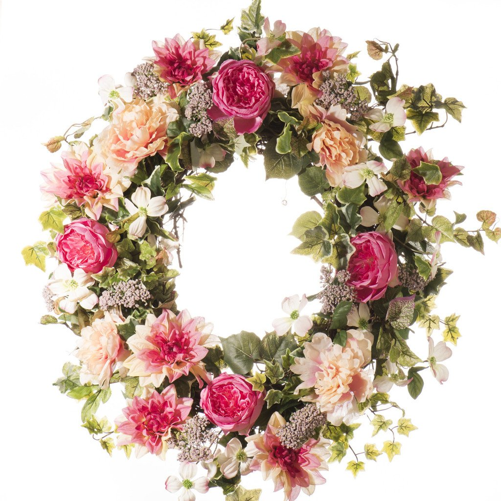 Peony and Rose Spring & Summer Wreath (SW804) - Everyday Silk Wreath (30 inch) by Darby Creek Trading