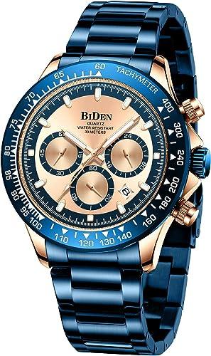 Relojes Hombre Relojes Grandes de Pulsera Cronografo Diseñador Luminosos Impermeable Reloj Hombre Deportivos de Acero Inoxidable Analogicos Fecha Azul Dorado: Amazon.es: Relojes