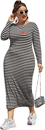 Floerns Women's Plus Size Casual Heart Print Striped Long T Shirt Dress