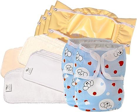 Pañales lavables ecológicos PSS! GLAM - Pañales de día de algodón con relleno extraíble - Kit de 12 pañales con estampado de perritos y corazones y de osito - Hecho en Italia: Amazon.es: Bebé