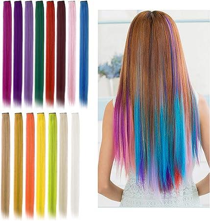 Viesap Extensiones De Cabello, 15 Pcs Arco Iris Clip De Color Pelucas Lacio Clip Sintético Hair Extensions Accesorios De Pelo Diy Decoración Cosplay ...