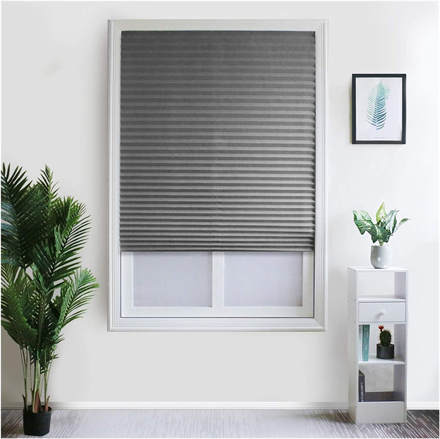 KJBGS Blinds Easy Lift Cordless Pleated Light Blocking Shade Window Blinds Apartment Home Use Window Curtain Blackout Beautiful and Durable (Color : Blinds Grey, Size : 90 W X 150 L cm)