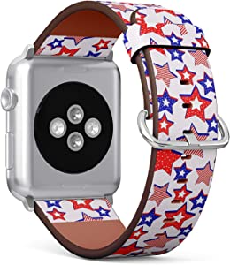 Compatible with Apple Watch iWatch (42/44 mm) Series 5, 4, 3, 2, 1 // Leather Replacement Bracelet Strap Wristband + Adapters // 4Th July American