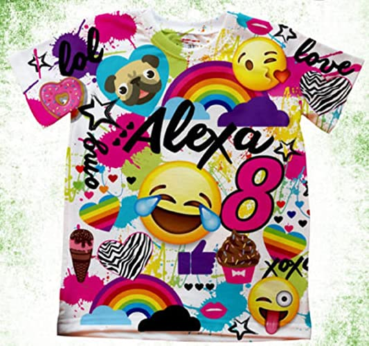 Amazon Personalized Emoji T Shirt Birthday With Or Without Number Custom Shirts Handmade