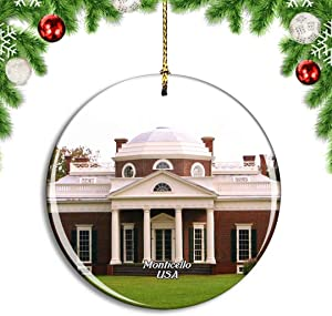 Weekino USA America Charlottesville Monticello Christmas Xmas Tree Ornament Decoration Hanging Pendant Decor City Travel Souvenir Collection Double Sided Porcelain 2.85 Inch
