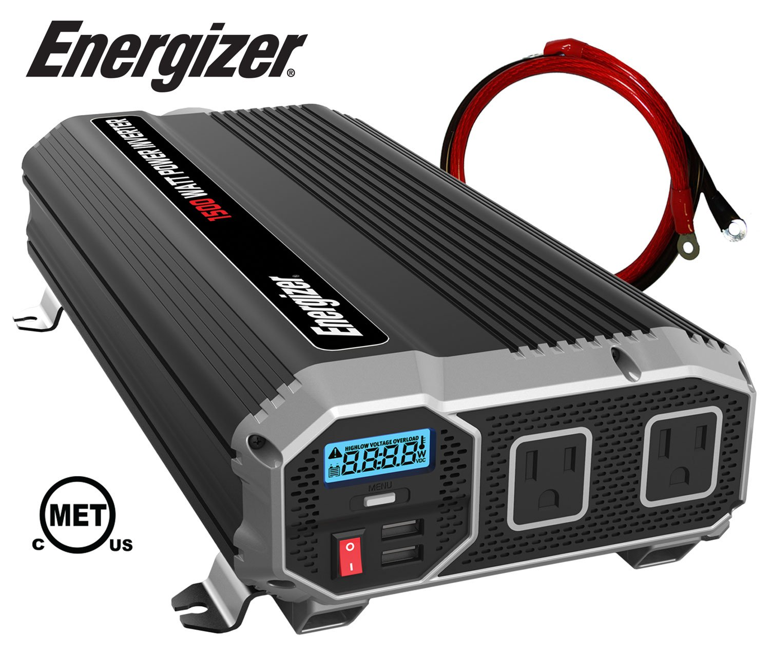 ENERGIZER 1500 Watt Power Inverter converts 12V DC from car's battery to 120 Volt AC 2x USB ports 2.4A