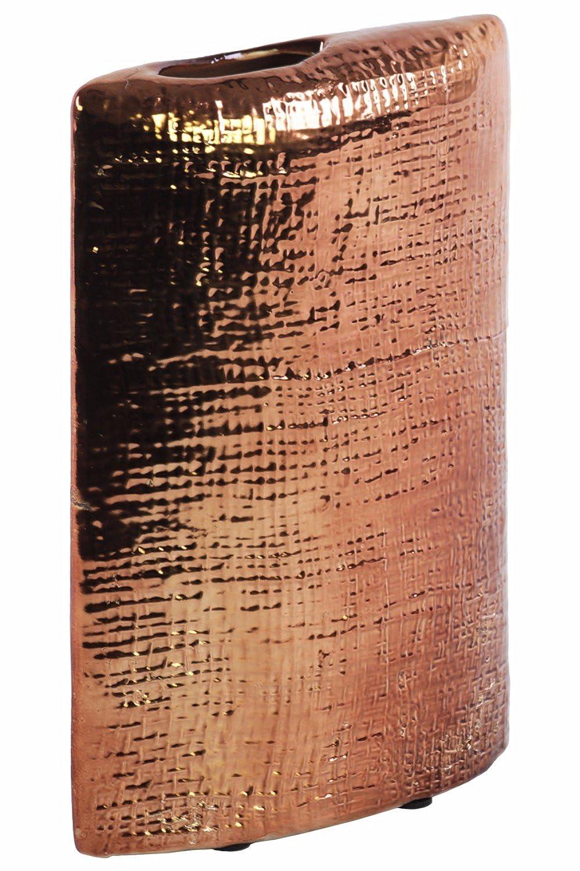 Benzara Electroplated Rectangular Criss Cross Design-Copper Vase