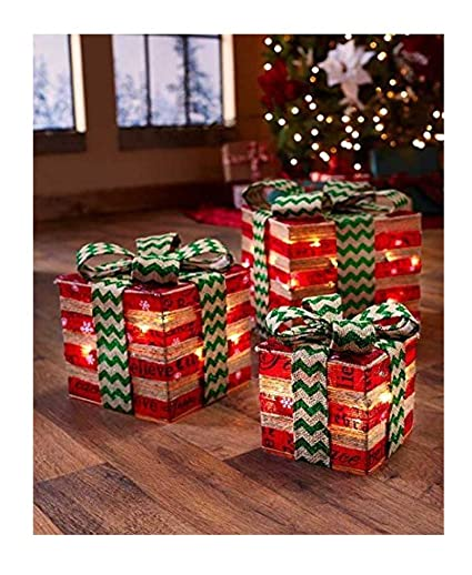 the lakeside collection lighted gift box decor red green