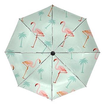Bennigiry - Paraguas con patrón de flamencos UV (resistente a los rayos UV, ligero