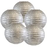 Just Artifacts 8-Inch Silver Chinese Japanese Paper Lanterns (Set of 5, Silver)