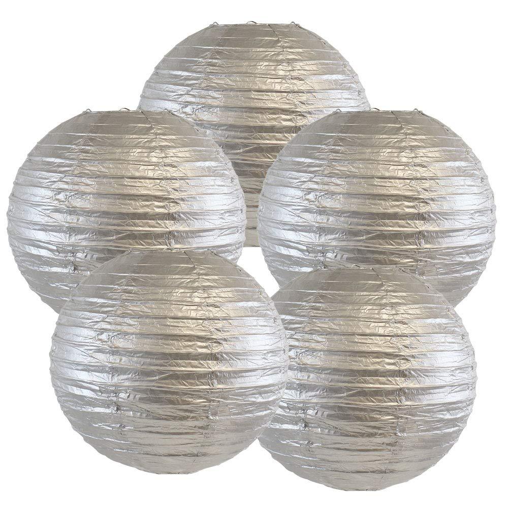 Just Artifacts ペーパーランタン5点セット - (6インチ - 24インチ) 12inch AMZ-RPL5-120004 B01CEX8L74 12inch|シルバー シルバー 12inch
